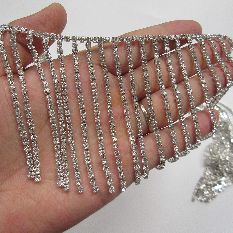 Style11: 30mm 30cm Bling Diamante Diamond Trim Ribbon Rhinestone Tape Pendant Tassel Fringe Chain Crystal Gem Sparkle Wedding Bridal Prom Evening Dress Party Show Sash Belt Headwear Necklace Craft