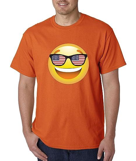 3bc9fa8f9407c Amazon.com  New Way 474 - Unisex T-Shirt Emoji Smiley Face USA American  Flag Sunglasses 4th July  Clothing