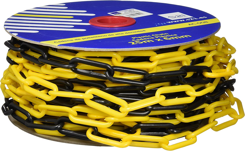 S21 Señalización AC-008 - Cadena eslabón plástica, color Multicolor (Amarillo/Negro), 25 m x 6 mm