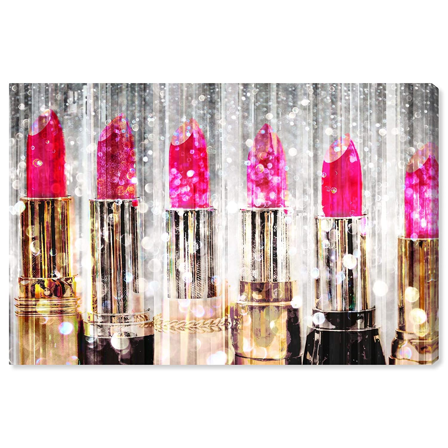 "The Oliver Gal Artist Co. Fashion and Glam Wall Art Canvas Prints 'Lipstick Collection' Home Décor, 15"" x 10"", Pink, Gold"