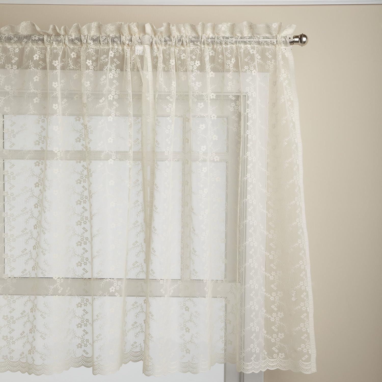 LORRAINE HOME FASHIONS Priscilla 60-inch x 36-inch Tier Curtain Pair, Ivory