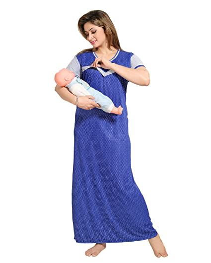 66adfa8f4a TUCUTE Women s Dotted Print (Blue) Feeding Maternity   Nursing Nighty  Style  1253  Amazon.in  Clothing   Accessories