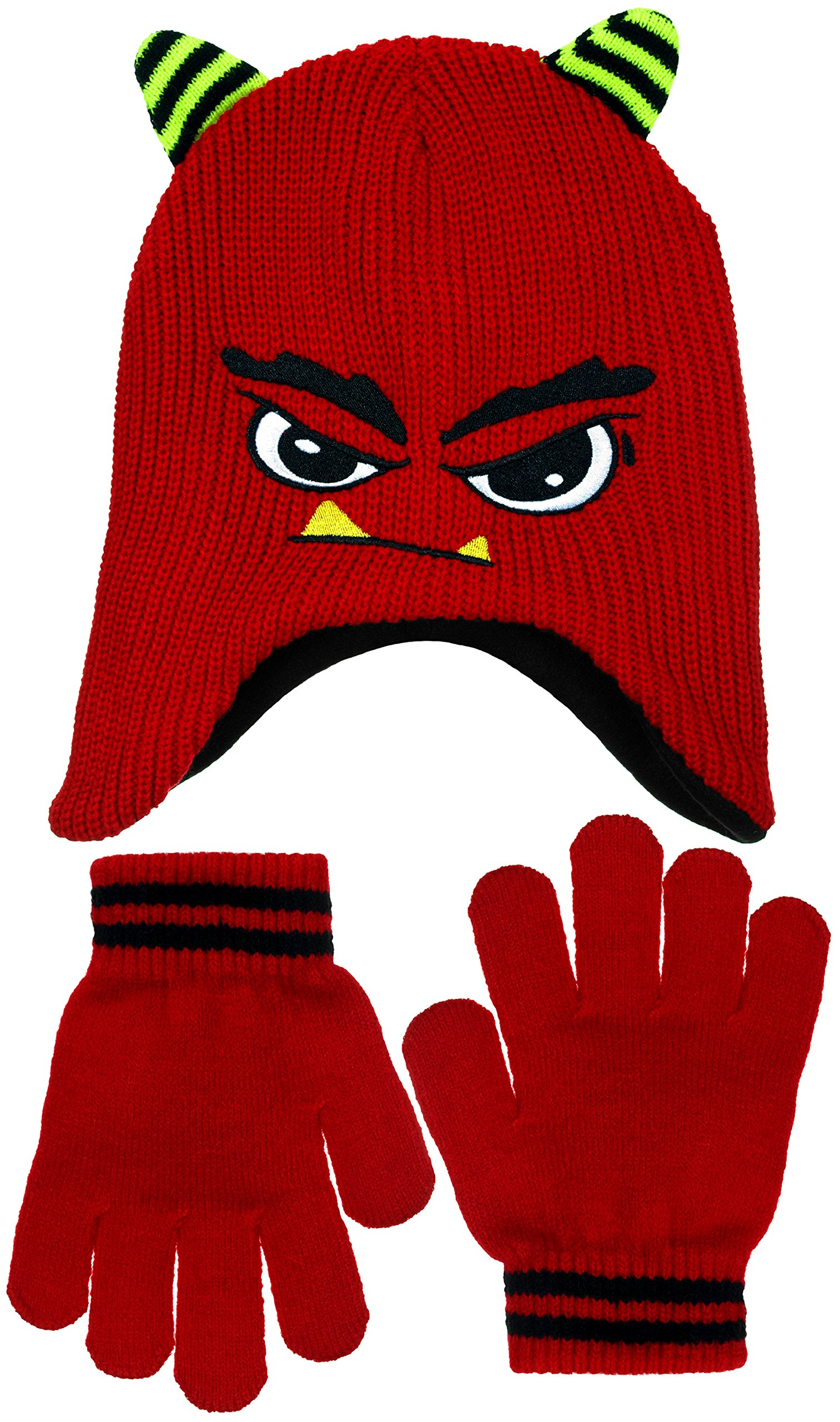 Boys Meanie Monster Face Fleece Lined Knit Beanie & Gloves Set in Blue or Red (Red)