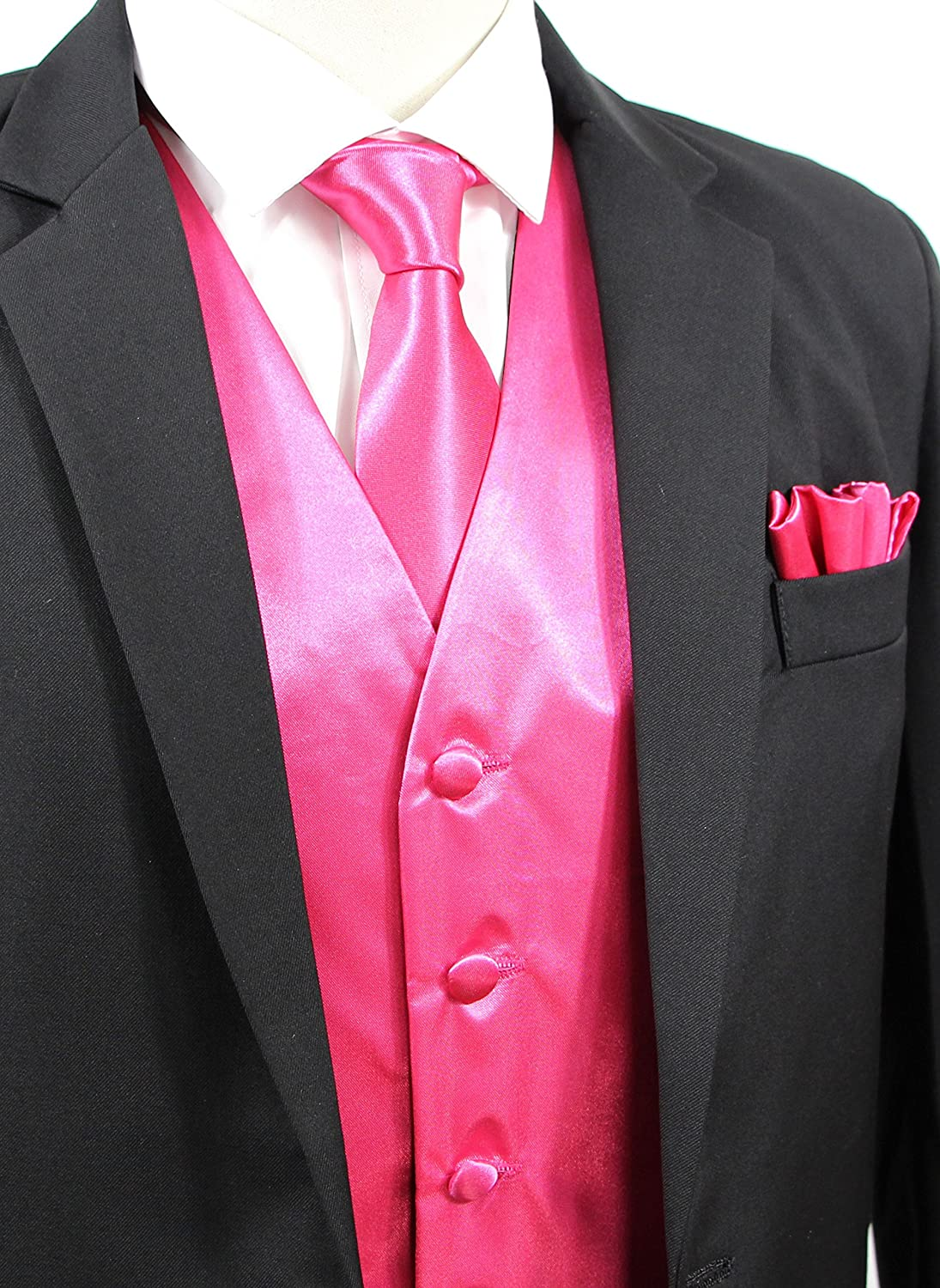 Bow Tie /& Handkerchief JAIFEI Satin Men Wedding Vest Set with Neck Tie