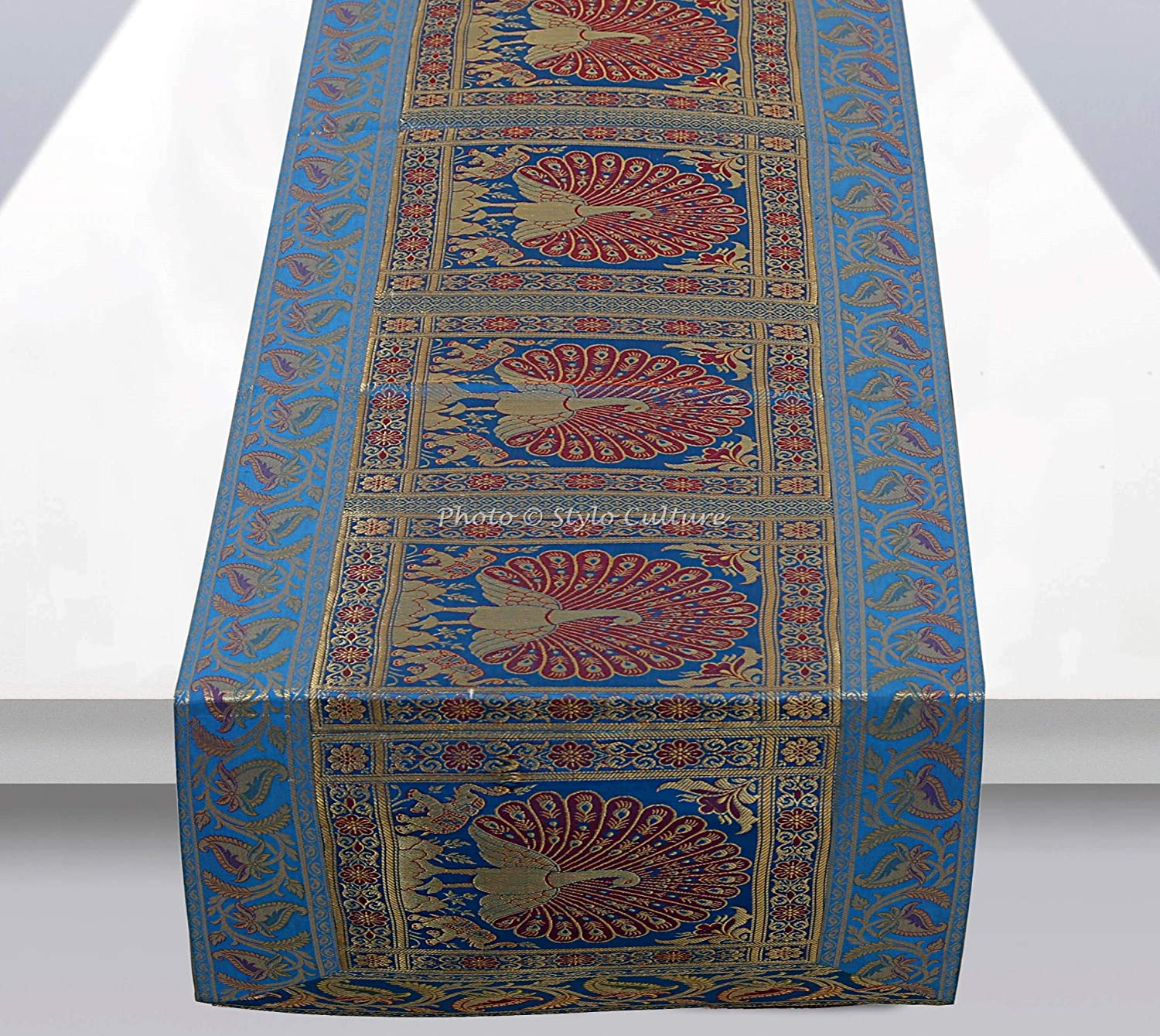 Stylo Culture Brocade Jacquard Center Table Runner Turquoise Rectangular Bohemian Ethnic Table Home Decor Peacock Floral Traditional Dining Table Cloth | 60x16 Inches (152 x 40 cm)