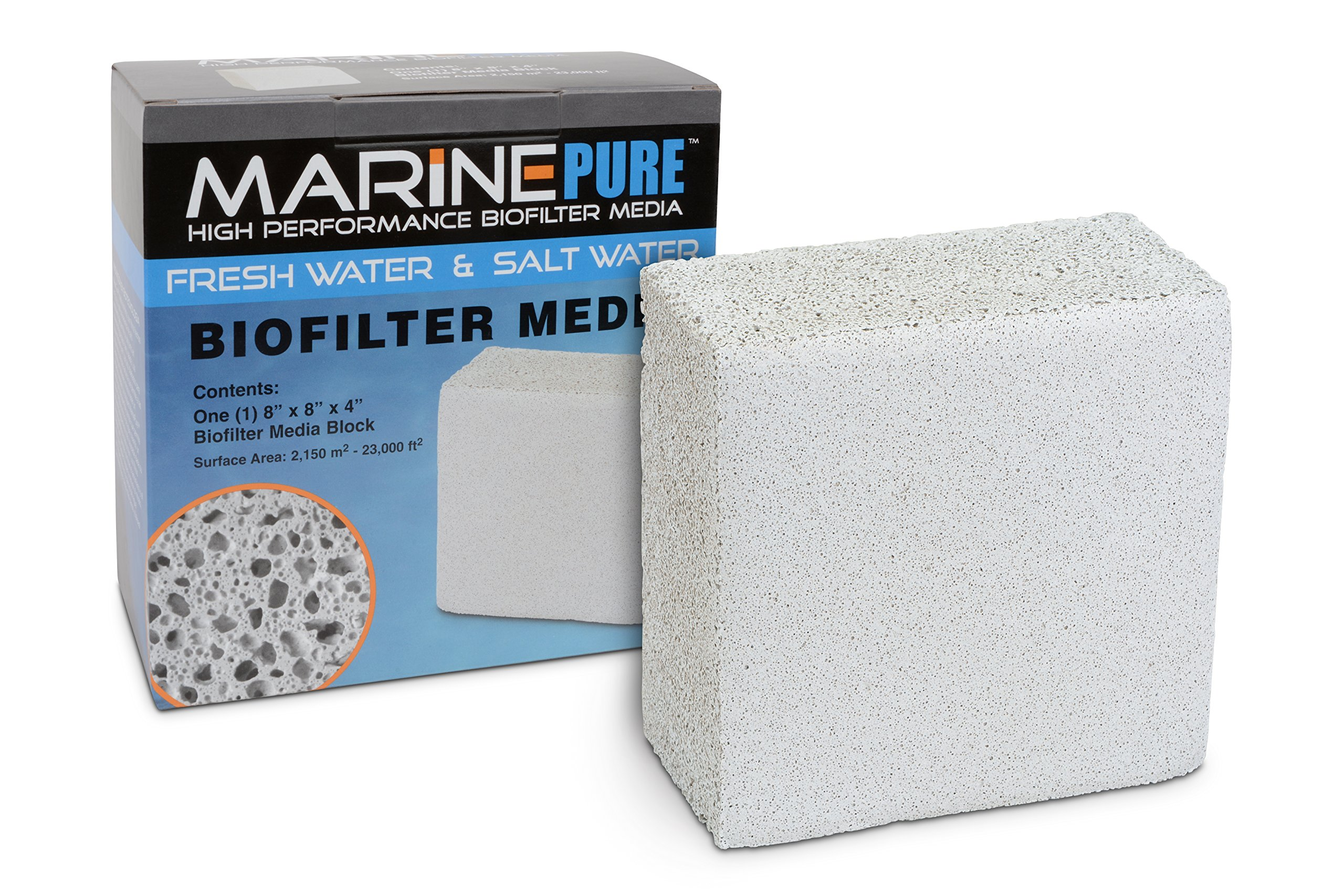 CerMedia MarinePure Block Bio-Filter Media for Marine and Freshwater Aquariums, 8 by 8 by 4-Inch by CerMedia MarinePure