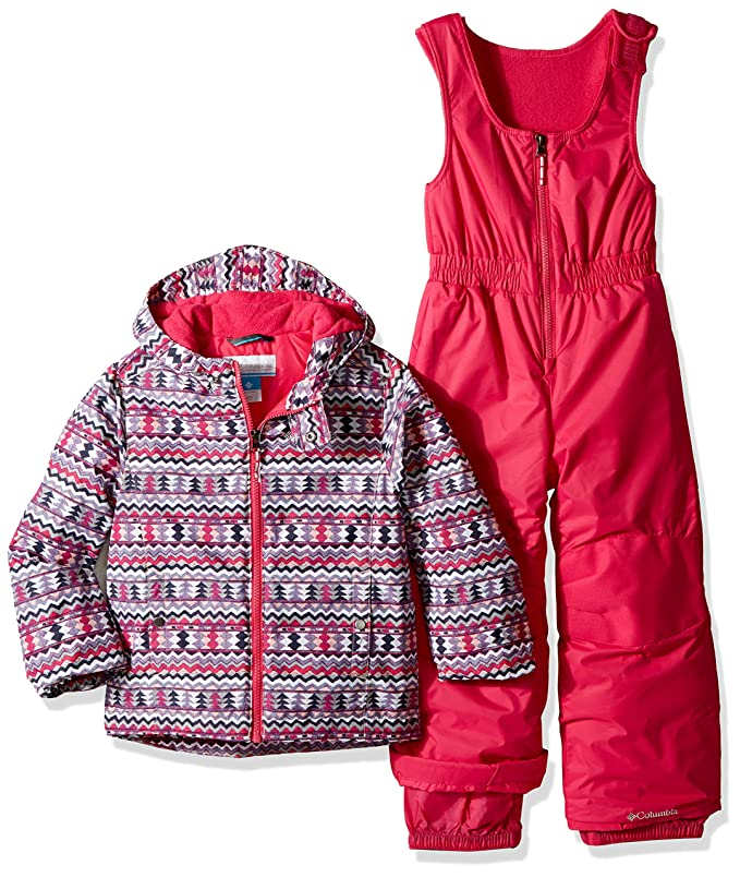 Columbia Kids' Toddler Frosty Slope Set, Rosewater Zigzag Print, 3T best girls' snowsuits