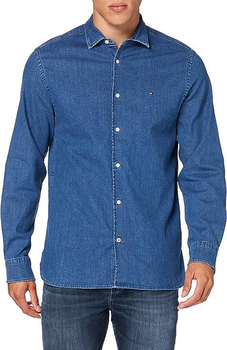 Tommy Hilfiger Flex Chambray Shirt Camisa Hombre: Amazon.es: Ropa