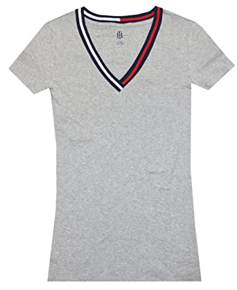 cc5a1f23982 Tommy Hilfiger Women Signature Short Sleeve V-Neck Logo Tee at ...