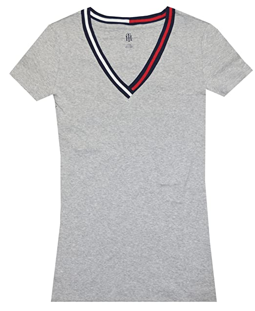 fea8bcc1 Tommy Hilfiger Women Signature Short Sleeve V-neck Logo Tee: Amazon ...