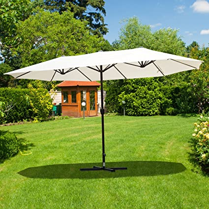 Festnight Double Sided Outdoor Patio Umbrella Market Shade Parasol Sun Shelter with Crank 15FT