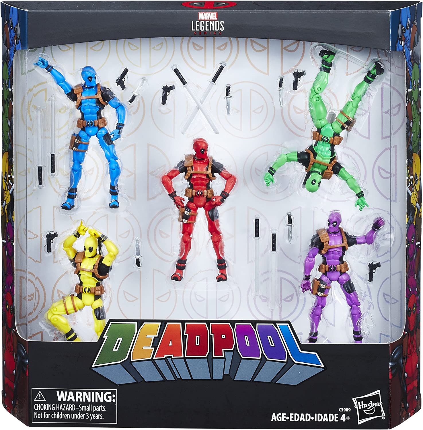 HASBRO MARVEL LEGENDS 3.75 inch 5 COLOR DEADPOOL 5 PACK