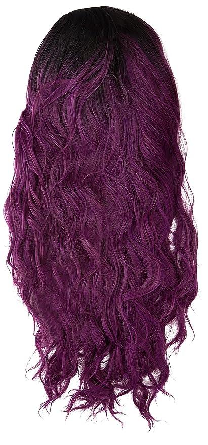 Amback medio largo cosplay lolita peluca de Halloween para mujer Ombre de onda rizado pelucas de