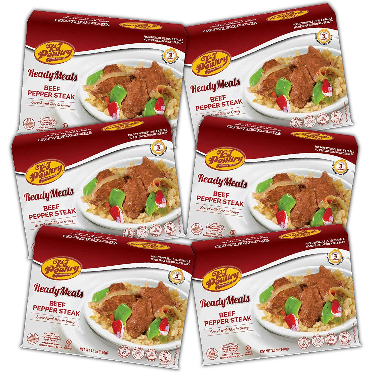 Kosher Mre Meat Meals Ready to Eat, Beef Pepper Steak (6 Pack) - Prepared Entree Fully Cooked, Shelf Stable Microwave Dinner, Deliverd Home – Travel, Military, Camping, Emergency Survival Canned Food