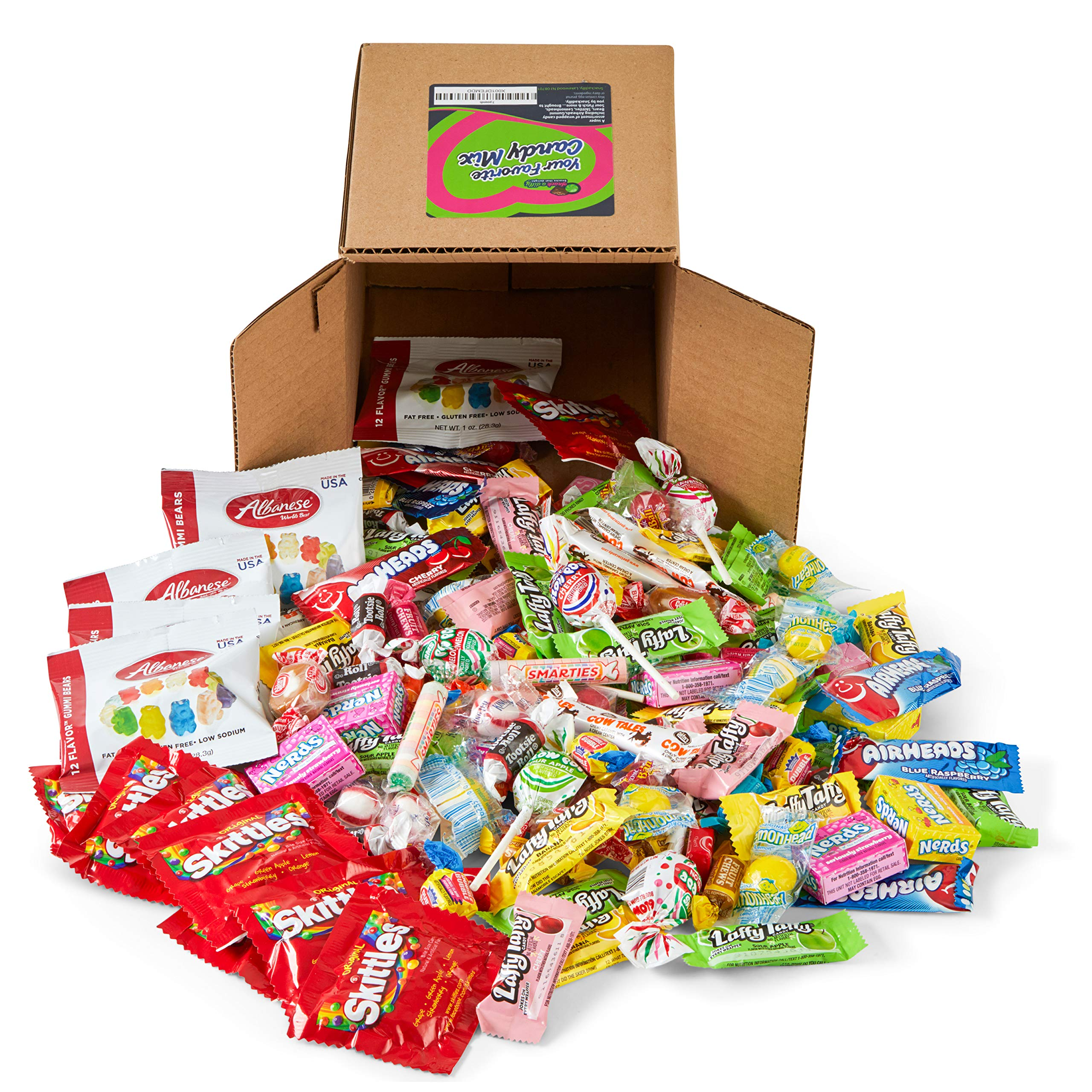 Your Favorite Party Mix Of Brand Name Candy! - 7.5 Pound Bulk Box of Gummy Bears, Airheads, Laffy Taffy, Blow Pops, Tootsie Rolls, Skittles, Lemon Heads, Jaw Buster's & Much More By Snackadilly by Snackadilly