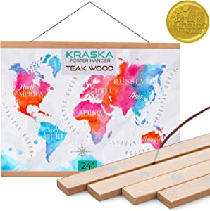 KRASKA - Poster Frame - 24x36, 24x32 Frame Magnetic Poster Hanger, Hanging Wall Art, Prints Picture Painting Artwork Map Scroll Movie Posters, Big Size Wood Frame and Vintage Photo Hanger - Teak Wood