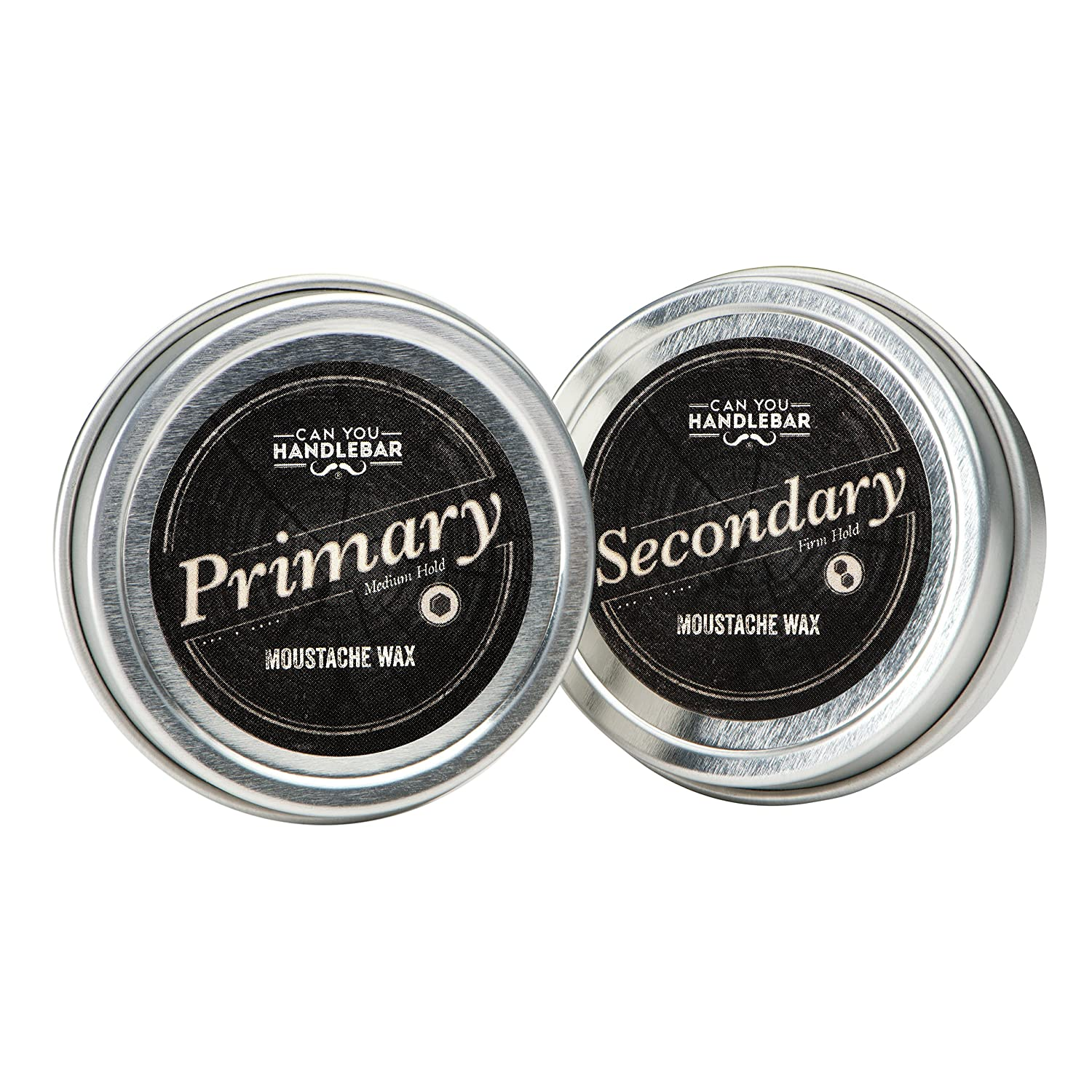 Primary and Secondary Moustache Wax SET | Natural, All Day Hold + Extra Strength | 1 OZ Cans CanYouHandlebar