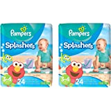 Pampers Splashers Disposable Swim Diapers, 24 Disposable pants each, size 3-4, 2 Pack