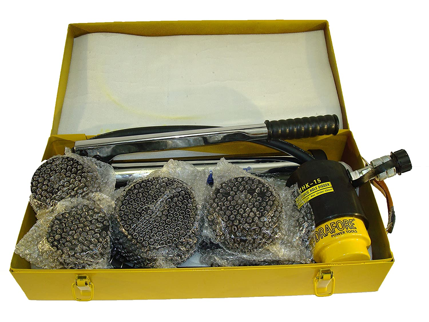 K-15 63-114mm, 2 1//2-4 1//2 15 tons Hydraulic Hole Punch Knockout Set 6 Dies