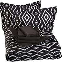 Amazon Bais Bed-In-A-Bag de 7 Piezas - Full/Queen, Black Aztec