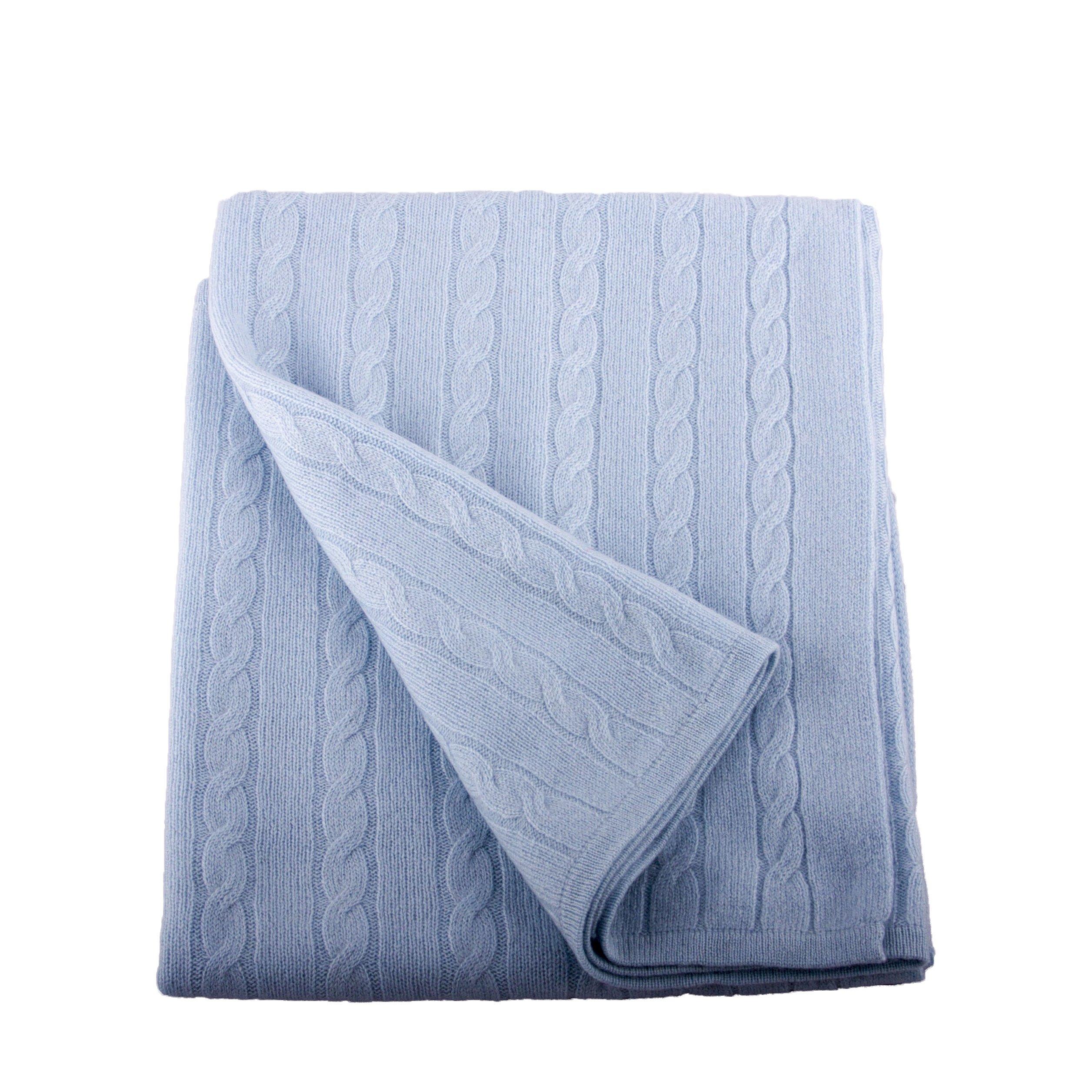 Lucky Bird Cashmere 100% Cashmere Baby Blanket, Sky Blue