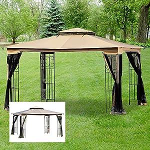 Garden Winds Regency II Gazebo Replacement Canopy Top Cover - RipLock 350