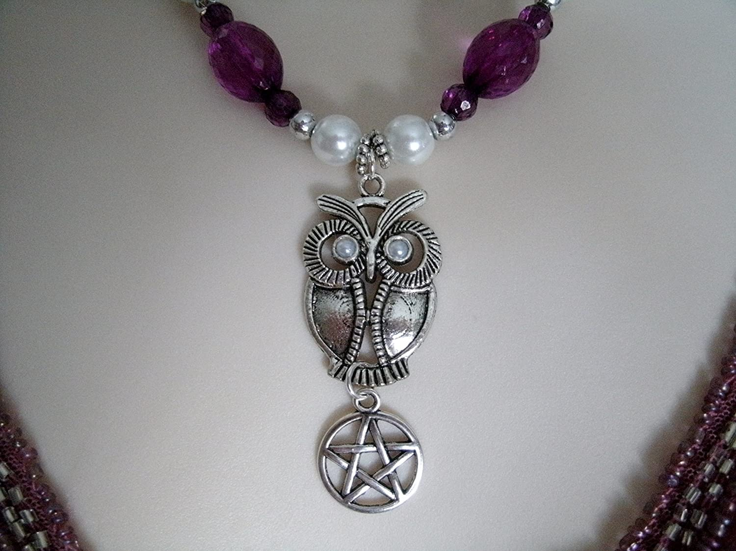 Goddess Athena Owl Pentacle Necklace, handmade jewelry, wiccan, pagan, wicca, witch, witchcraft, pentagram, magic