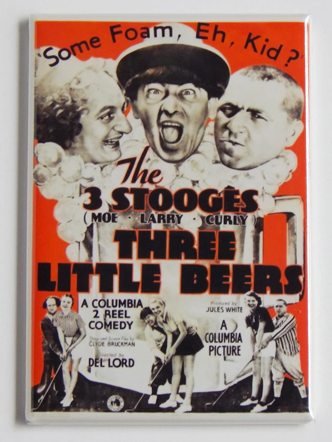 "Three Stooges ""Three Little Beers"" Fridge Magnet (2.5 x 3.5 inches)"