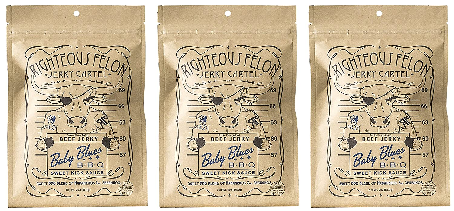 Righteous Felon Baby Blues Sweet Kick BBQ Mild Craft Jerky Pack of 3