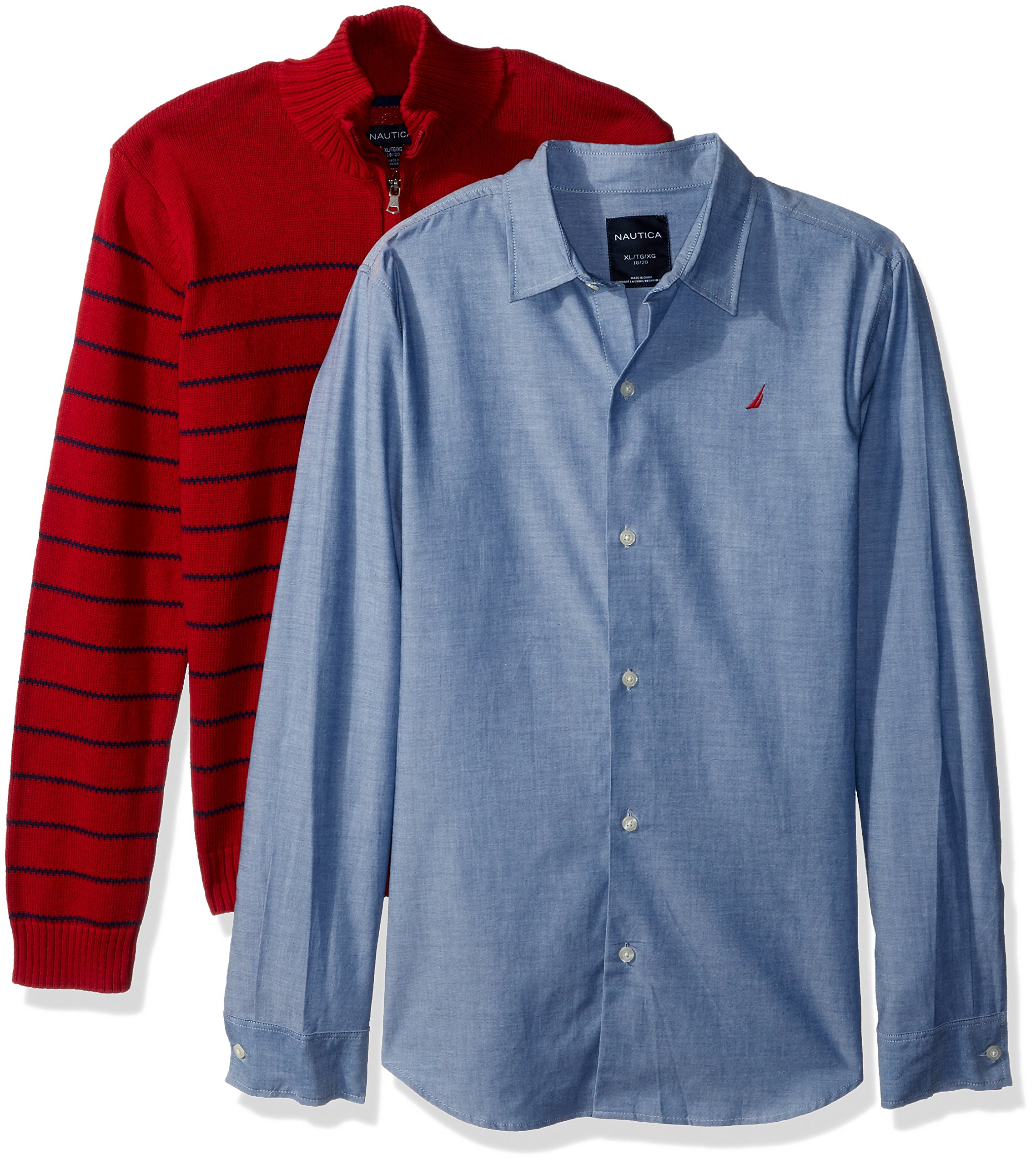 Nautica Boys' Big Two Piece Sweater and Chambray Shirt Set, red Rouge, Medium (10/12)