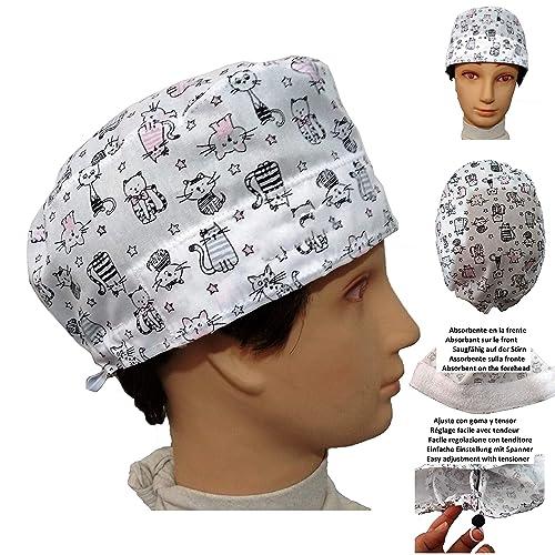 Cappello chirurgico Gattini Bianco per i capelli corti chirurgo dentista  vet cuoco Assorbente sulla fronte Regolazione 77c0f62da2d7