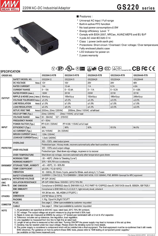 MW Mean Well GS220A20-R7B 20V 11A 220W AC-DC Green Industrial Adaptor