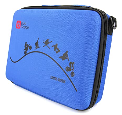 Amazon.com : DURAGADGET Limited Edition Blue Travel Armoured Protective Shell Storage Case With Shock Absorbing Foam & Carry Handle Designed For GoPro ...