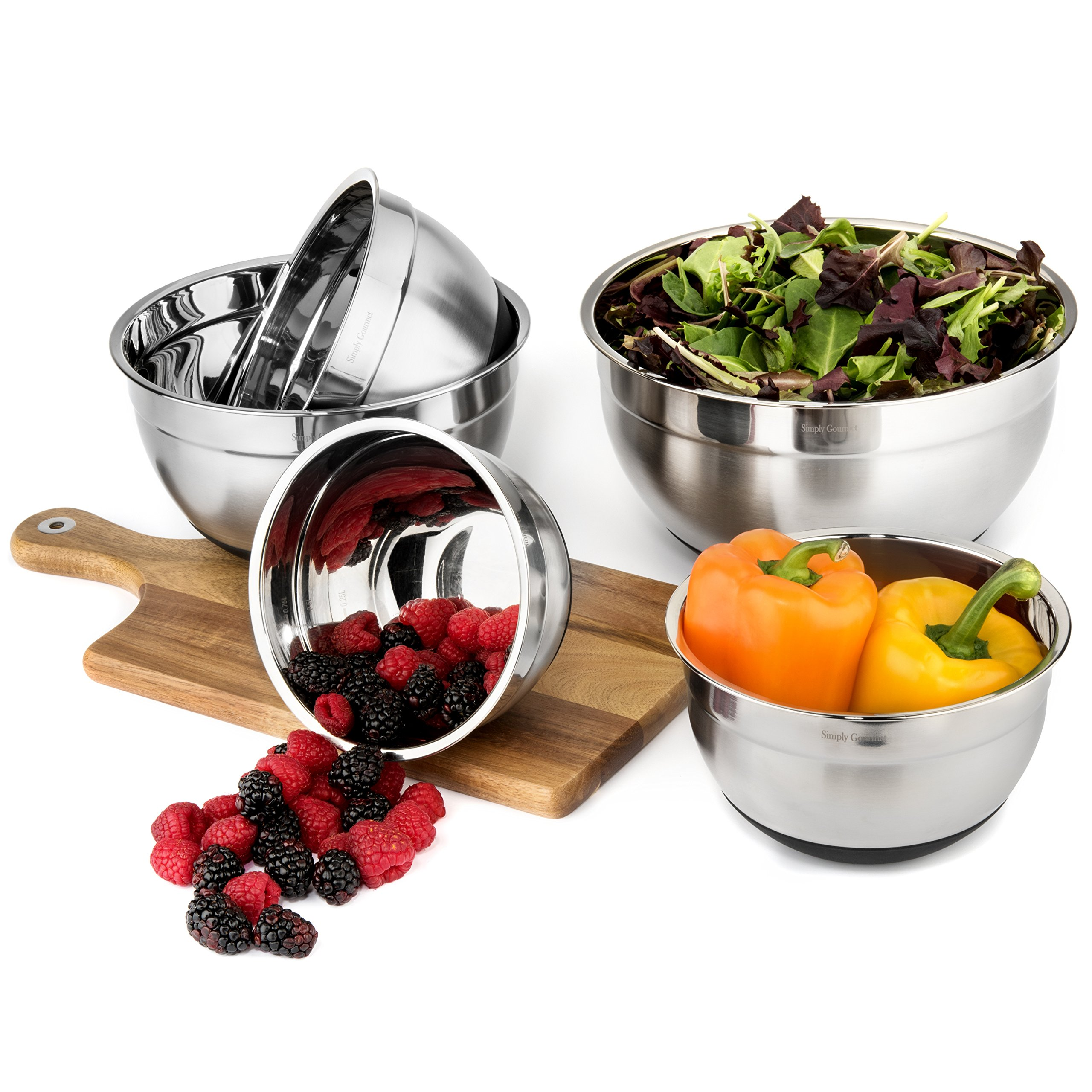 Premium Mixing Bowls with Lids - by Simply Gourmet. Stainless Steel Mixing Bowl Set Contains 5 Bowls with Airtight Lids, Non-Slip Bottoms, and a Flat Base for Stable Mixing. Bowls Nest for Storage … by Simply Gourmet (Image #3)