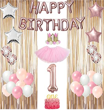 Parteelux 1st Birthday Decorations Girl Set Baby First Party Includes Princess Crown Tutu