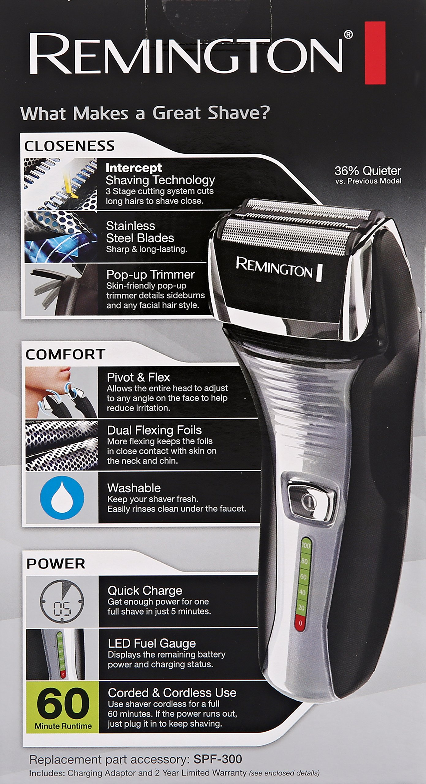 Remington F5-5800 Foil Shaver, Men's Electric Razor, Electric Shaver, Black by Remington (Image #6)