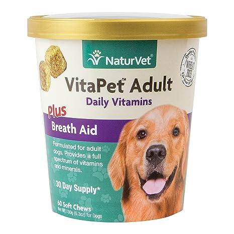 NaturVet Vitapet Daily Vitaminas Plus respiración Ayuda para Adulto Dental para Perros, 60 CT Suave