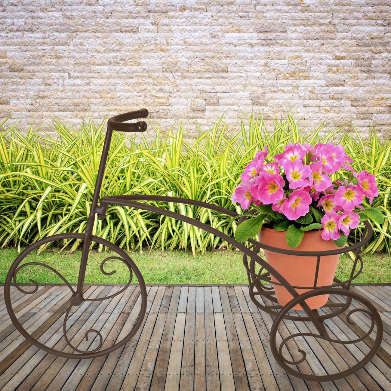 Sorbus Tricycle Plant Stand - Flower Pot Cart Holder - Ideal for Home, Garden, Patio - Great Gift for Plant Lovers, Housewarming, Mother's Day - Parisian Style (Single Pot, Bronze) by Sorbus (Image #4)