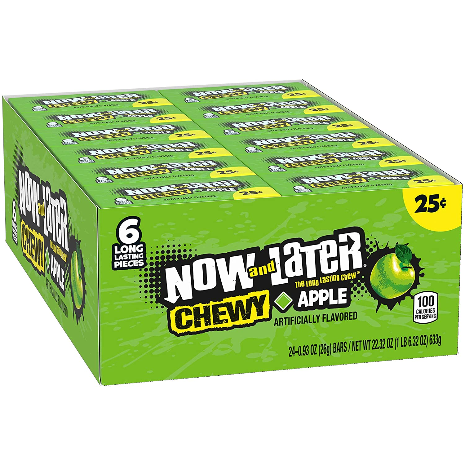 Now & Later Soft Taffy Chews Candy, Apple, 0.93 Ounce Bar, Pack of 24