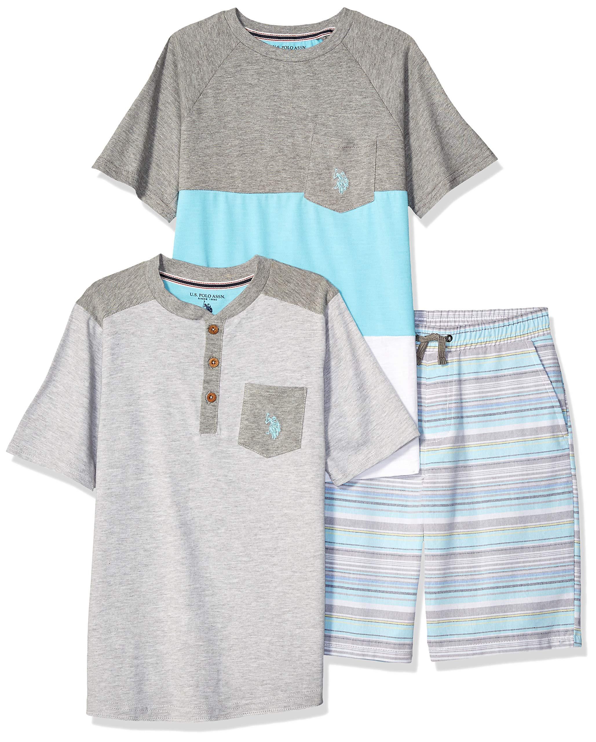 U.S. Polo Assn. Boys' Little Sleeve T-Shirt, Henley, and Short Set, Light Teal Stripe Multi Plaid, 5/6