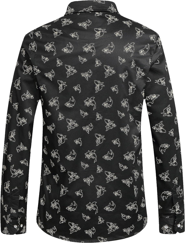 SSLR Camisa con Estampado de Animal Tiburón Manga Larga de Algodón para Hombre: Amazon.es: Ropa y accesorios