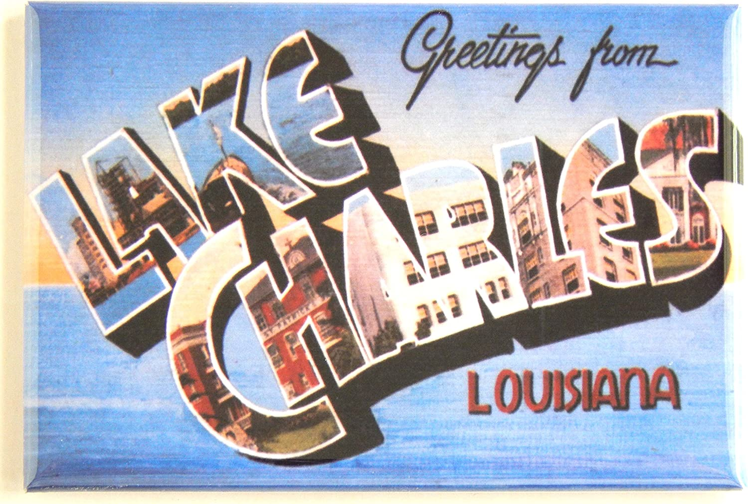 Greetings From Lake Charles Louisiana Fridge Magnet (1.75 x 2.75 inches)