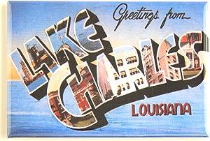 Greetings From Lake Charles Louisiana Fridge Magnet (1.75 x 2.75 inches)
