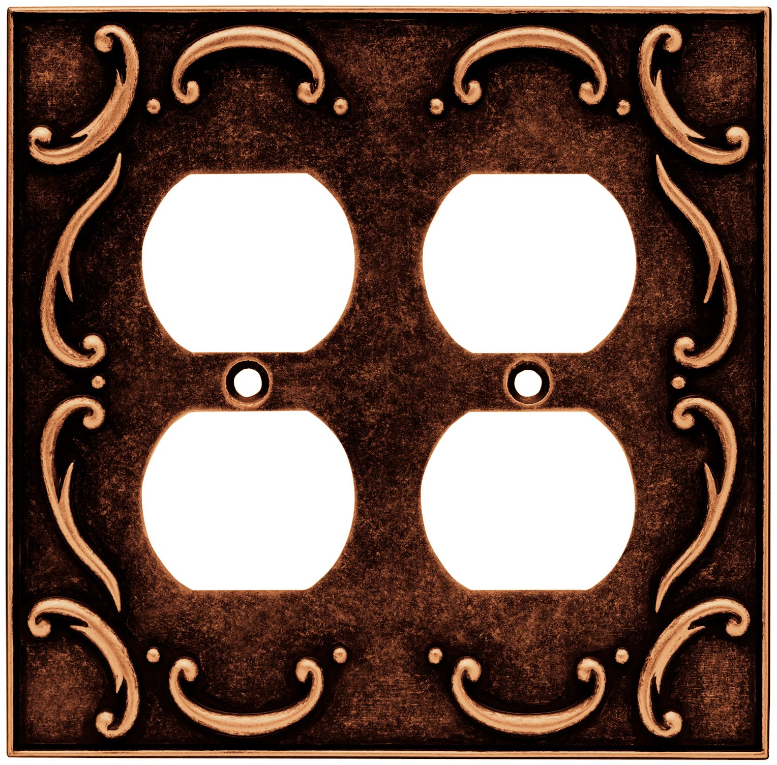 Brainerd 64258 French Lace Double Duplex Outlet Wall Plate / Switch Plate / Cover, Sponged Copper