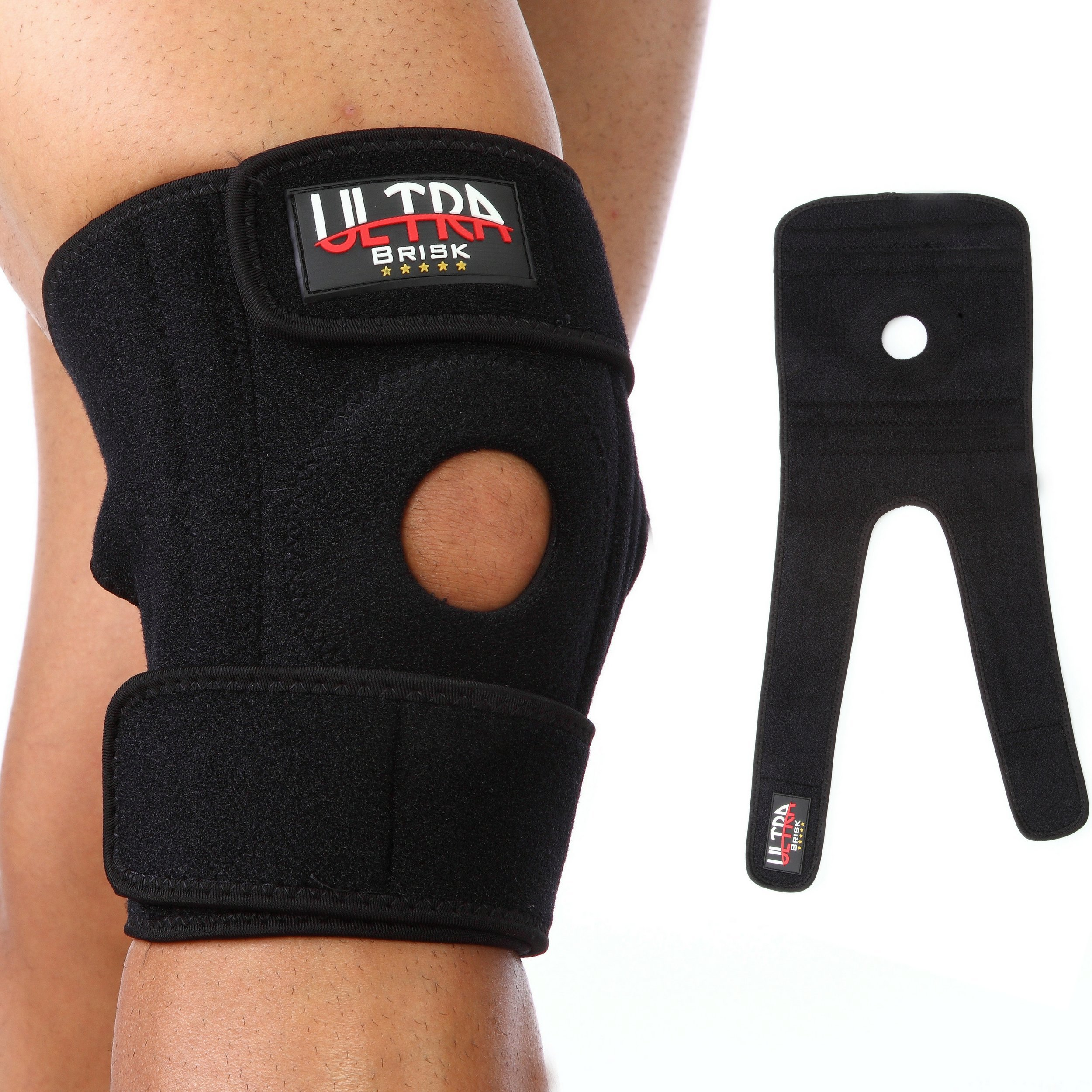 Medical Grade Knee Brace for Support, Meniscus Tear, Arthritis, ACL, Running, Basketball, Sports, Athletics. Open Patella Protector Wrap, Neoprene, Non-Bulky, Relieves Pain. FDA Approved