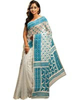 Avik Creations Latest Design Embroidered Traditional Designer hand Made Dhakai Jamdani Handloom Soft Silk Cotton Sari - Blue White Latest Collection
