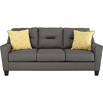 Benchcraft   Forsan Nuvella Contemporary Sofa Sleeper   Queen Size Mattress  Included   Gray