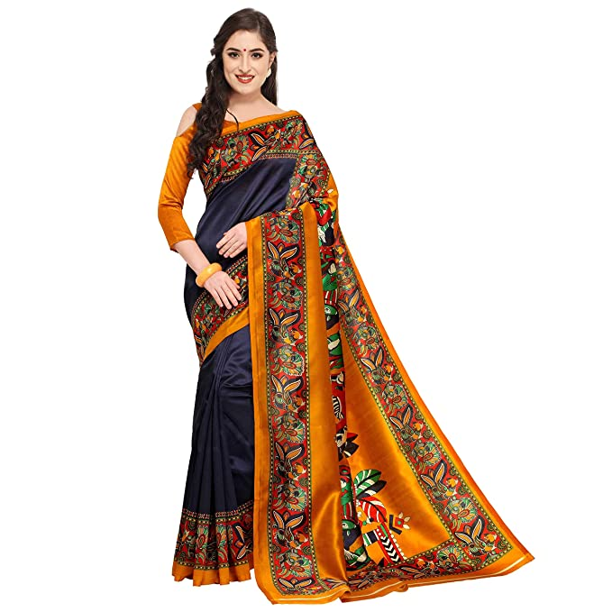 f6d1c61c361d43 Art Silk Saree with Blouse Piece (rbks koyal025 blue Blue Free Size)