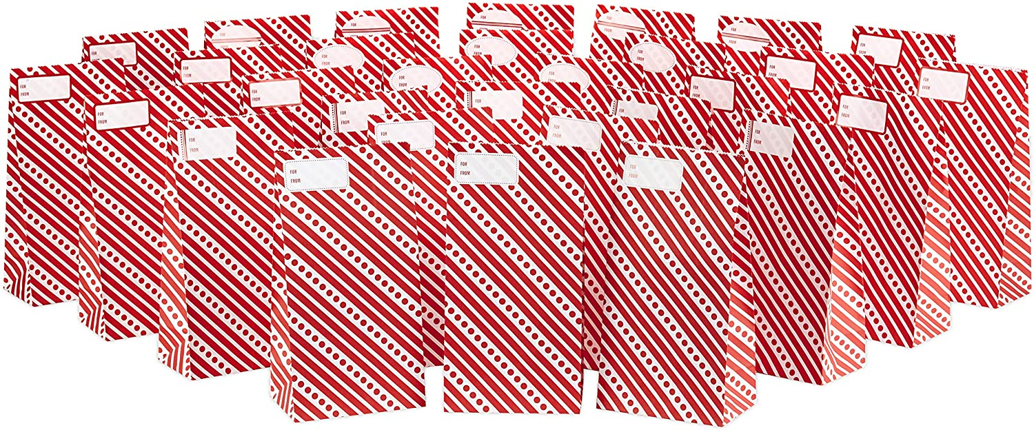 Hallmark Red and White Stripe Party Favor and Wrapped Treat Bags with Gift Tag Stickers (30 Bags, 30 Labels) for Christmas, Valentines Day, Birthdays, May Day, Care Packages and More
