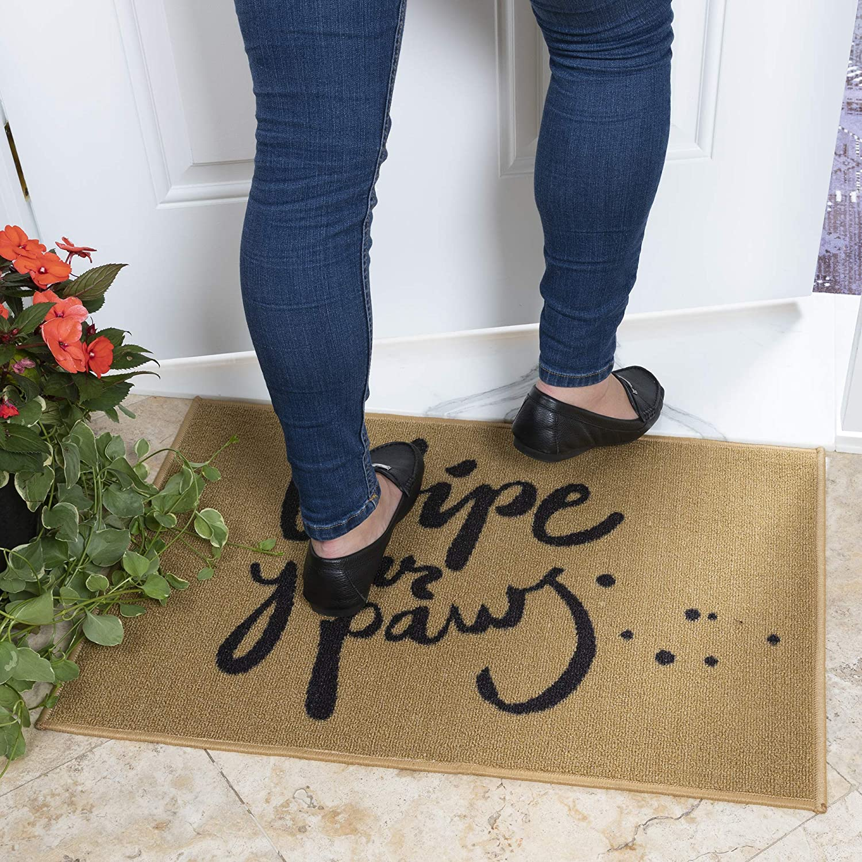 """Ottomanson Doormat Collection Rectangular Wipe Your Paw Doormat, 20"""" X 30"""", Beige"""